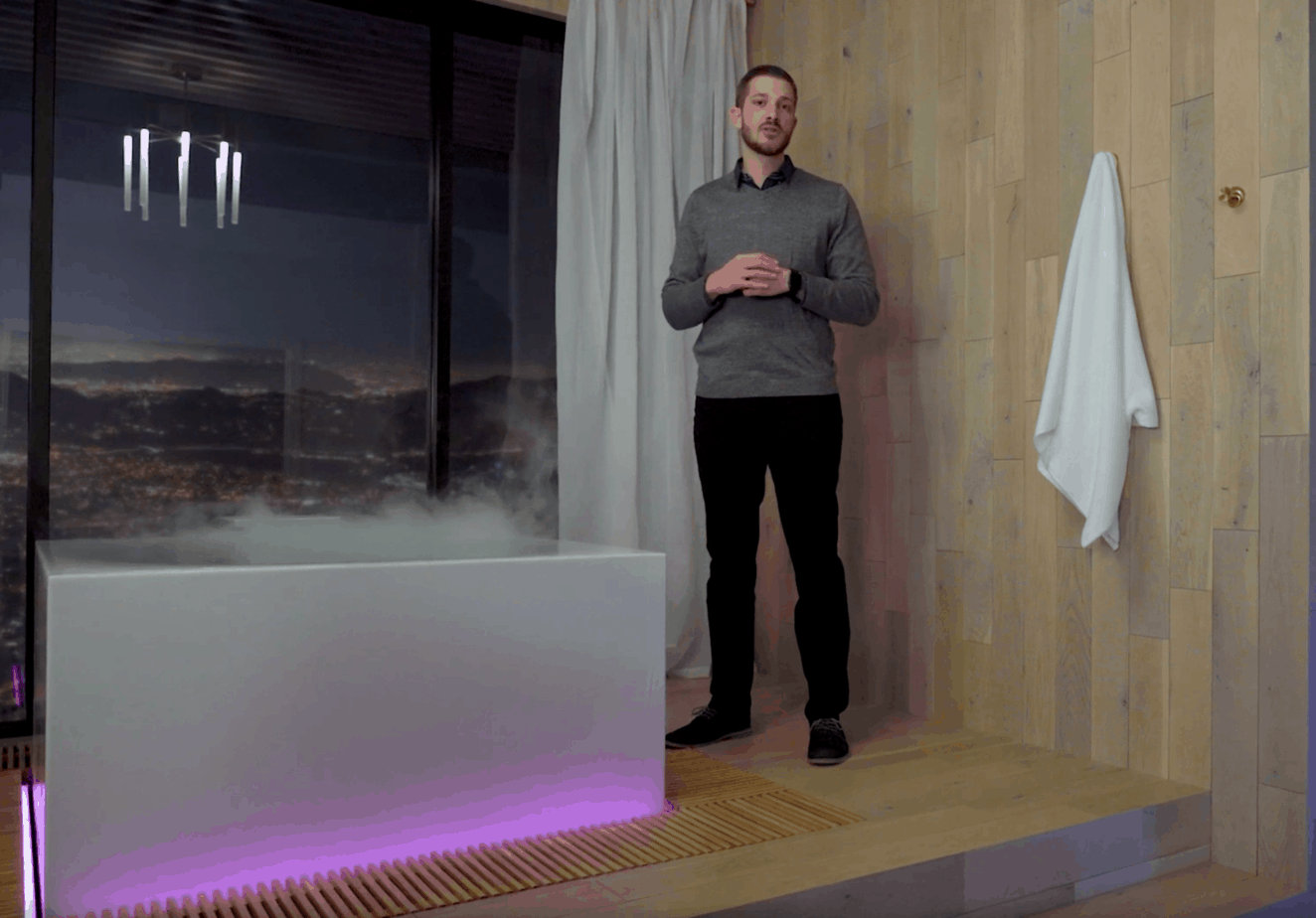 The Kohler Escape Bathroom provides a spa experience at home with lighting, fog and aromatherapy options.
