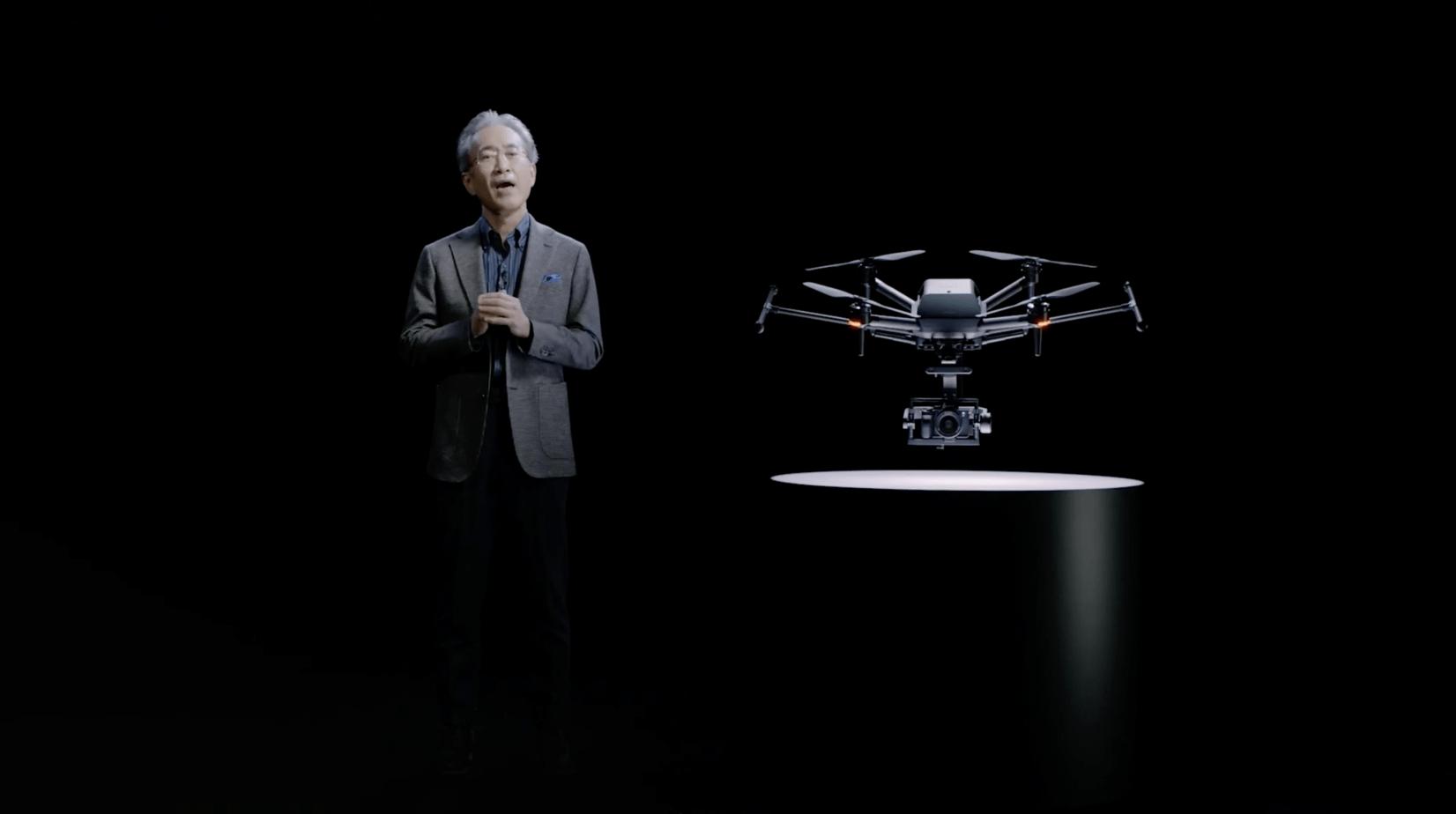 CES21_Sony_Kenichiro Yoshida chmn with AirPeak drone
