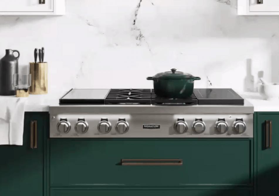 The Signature Kitchen Suite PowerSteam dishwasher blends seamlessly into kitchen decor.