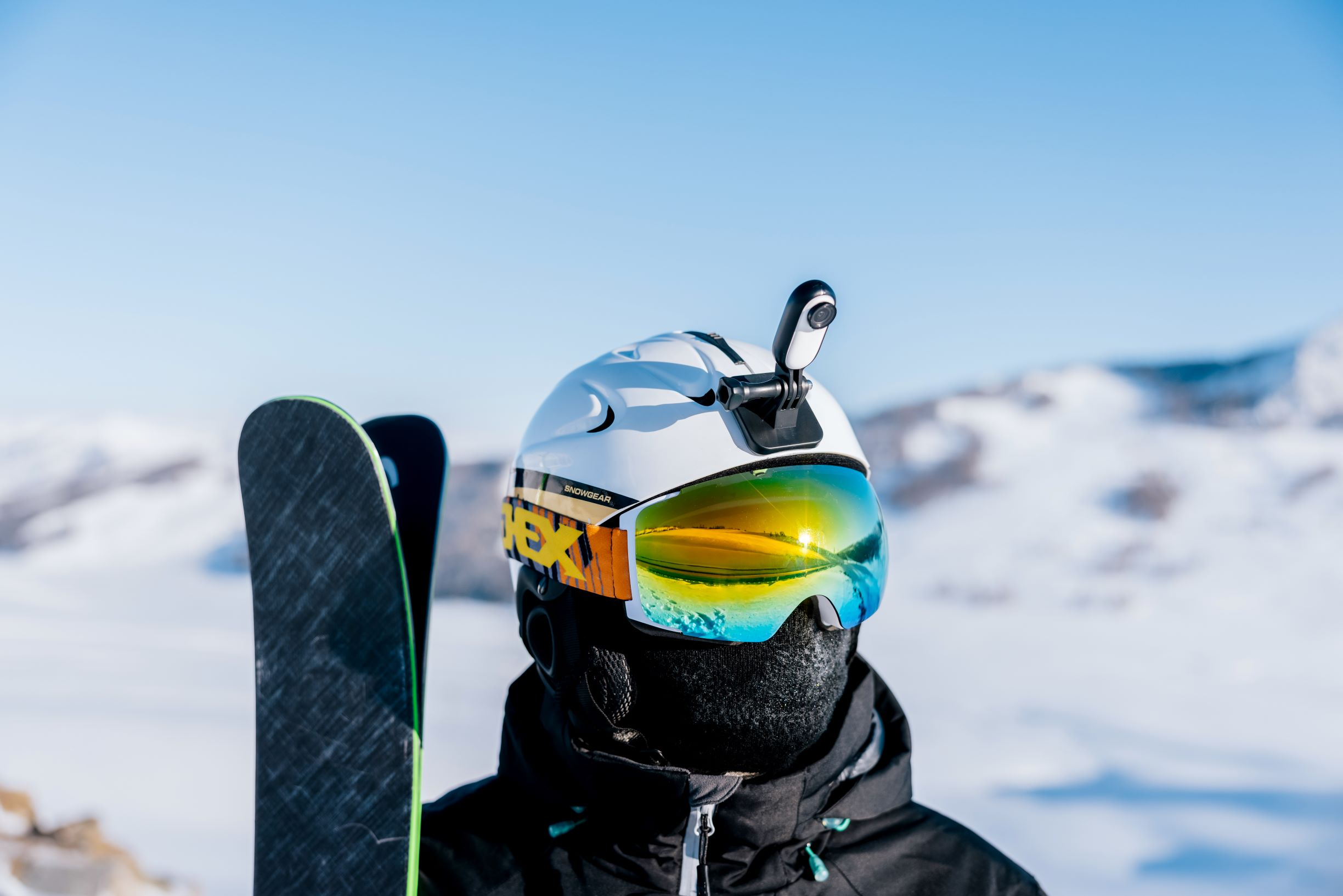 Insta360 GO 2 camera on a ski helmet