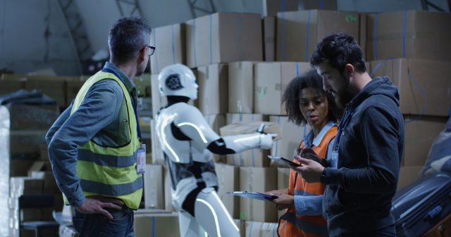 Warehouse robots and humans