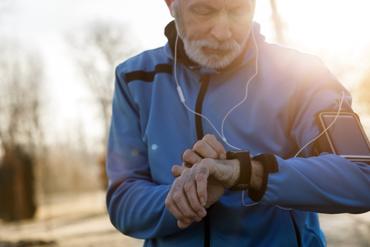 FDA approved gadget used by elderly man after jogging