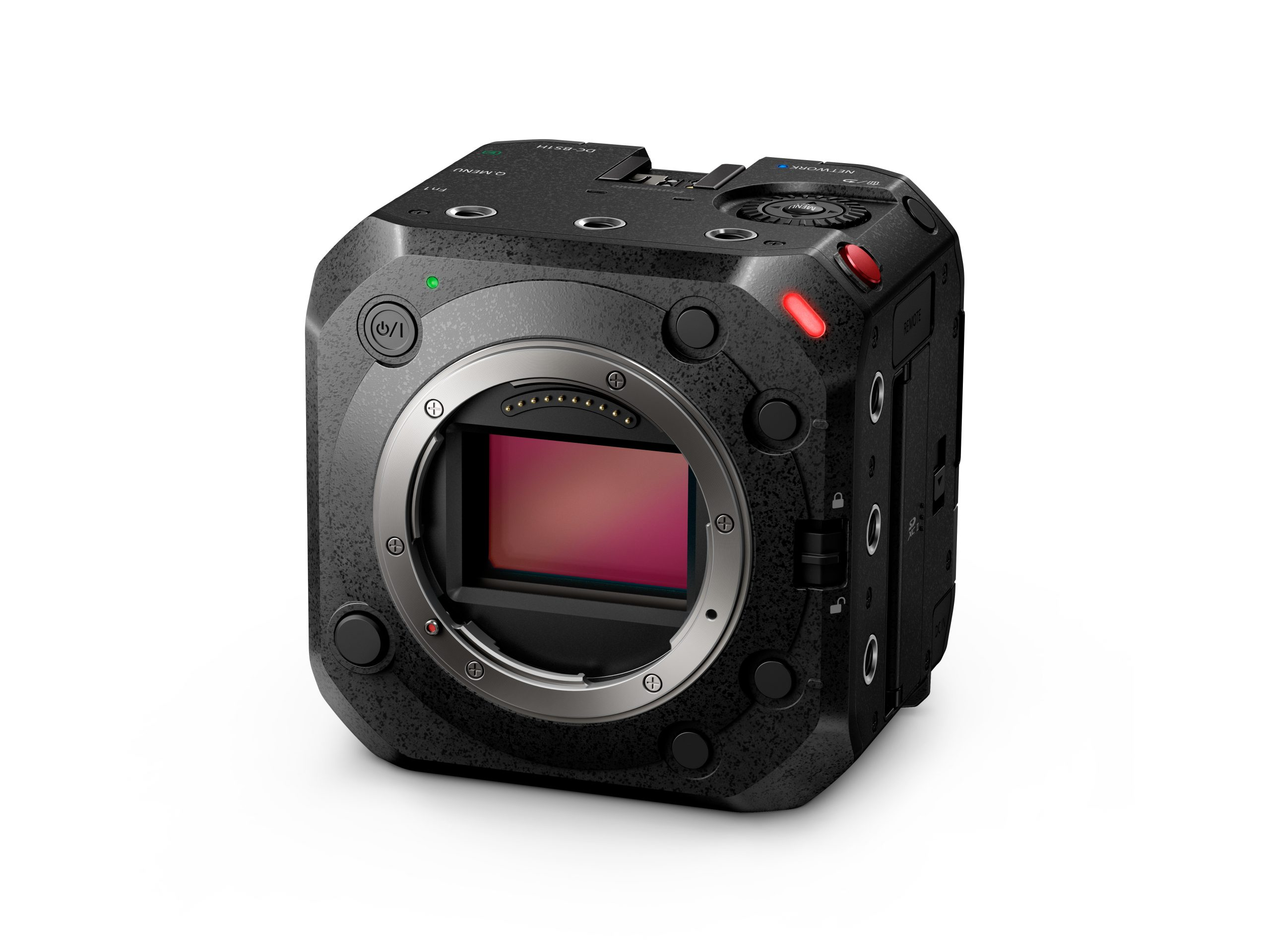 A front view of the Panasonic LUMIX BS1H camera without lens