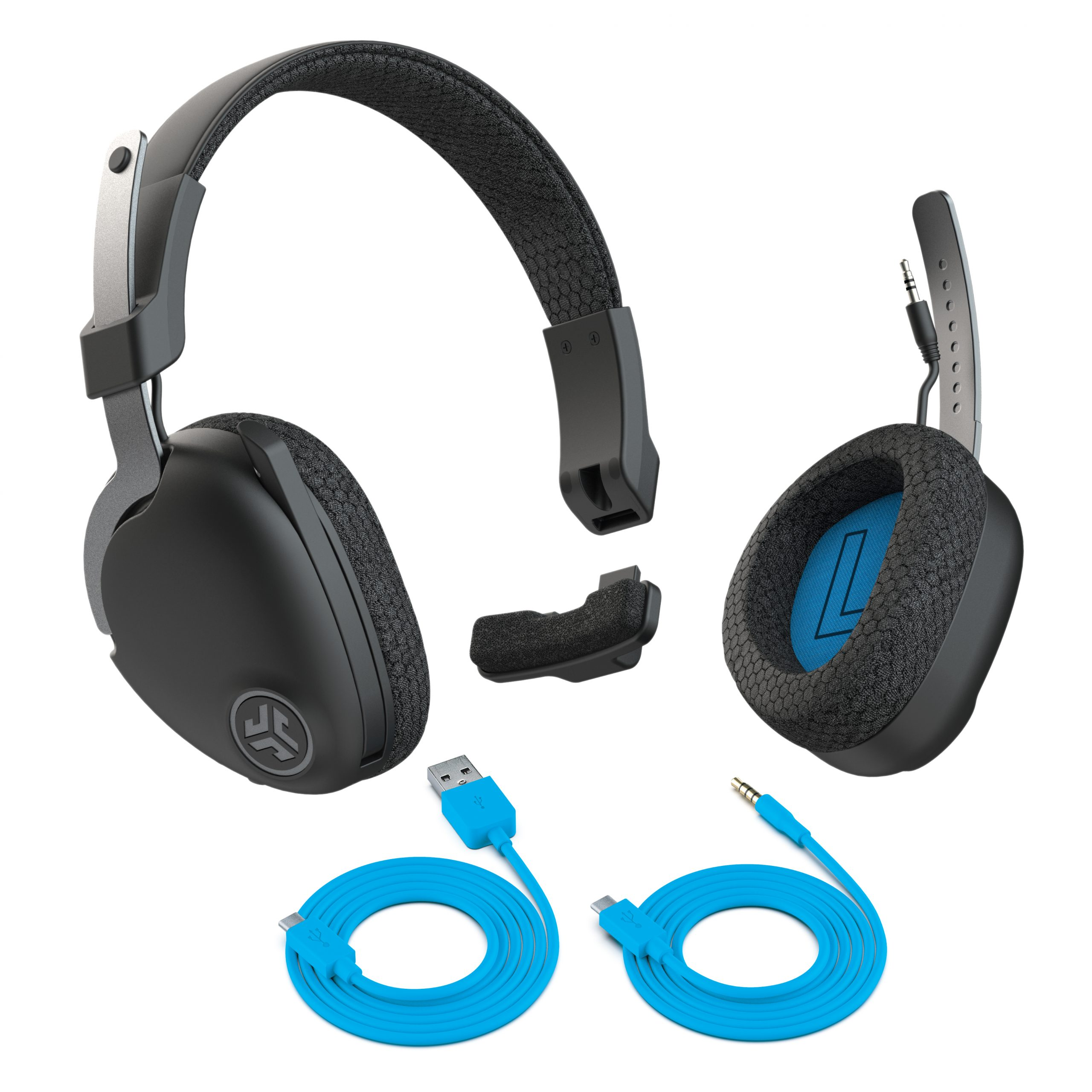 Remote work devices: A picture of the Jlab work headphones with the charging cable and aux cord.