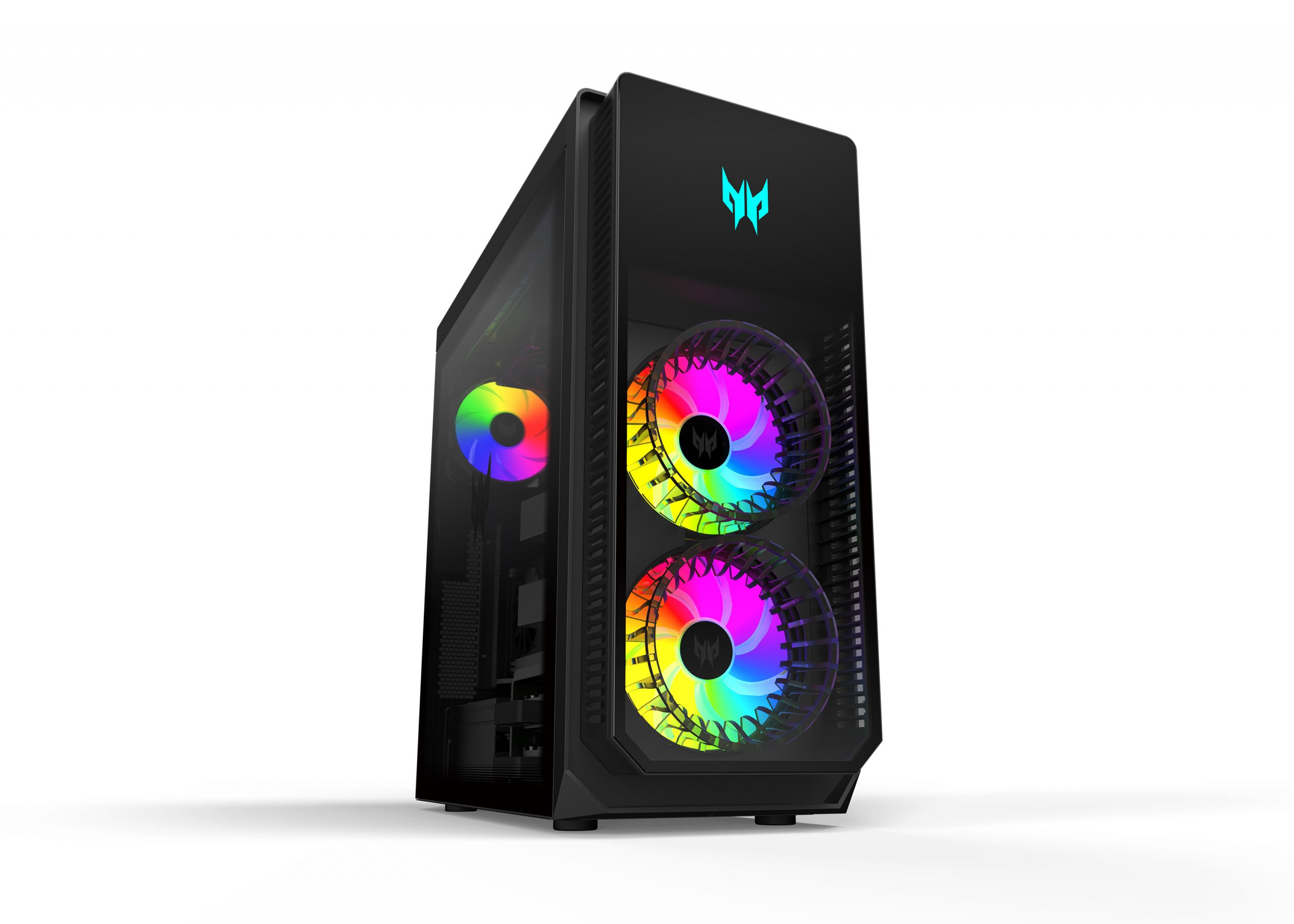 The Acer Orion 7000 gaming desktop with the LED lights displaying a rainbow color wheel